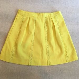 J. Crew Bright Yellow Mini Skirt Lace Detailing
